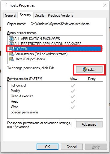 Enable Permission for Host file on windows