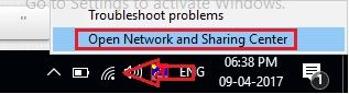 Open Network and Sharing center on Windows