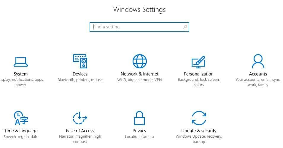 1 Windows 10 settings