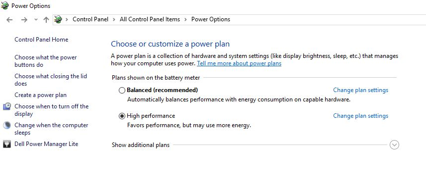 1 Laptop power option on windows 10 or Windows 7