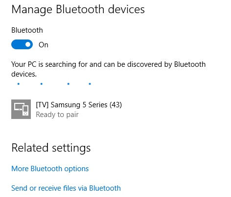 3 Find the list of Bluetooth device around you on windows 10 screen