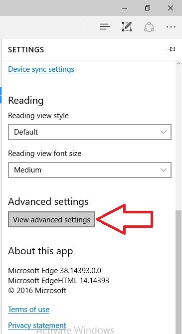 3 View Advanced Settings on windows IE Browser