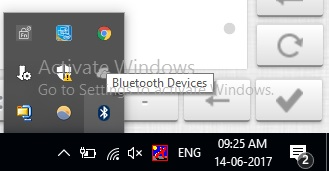 4 Bluetooth is activated and showing in bottom taskbar