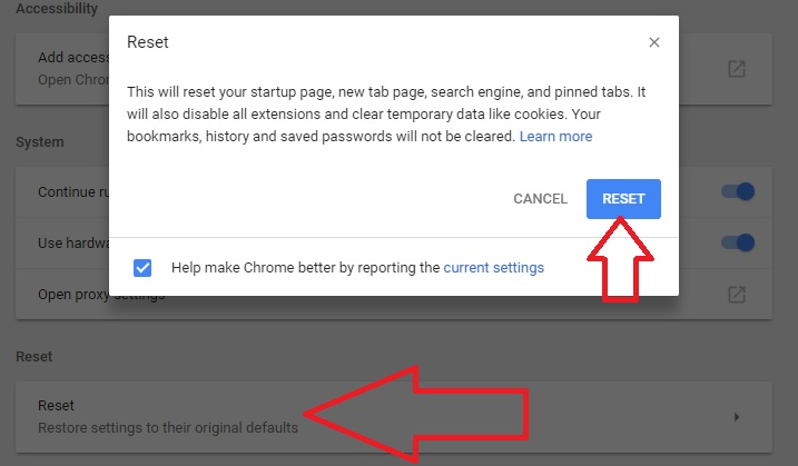 6 Reset Google Chrome browser settings and Data on windows