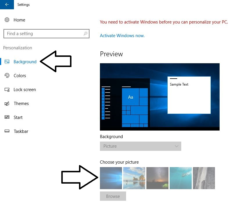 2 Browse and upload picture for windows 10 background