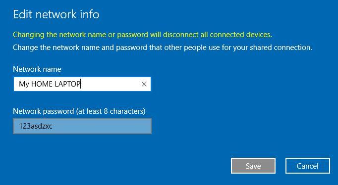 4 Change Mobile Hotspot password in Windows 10