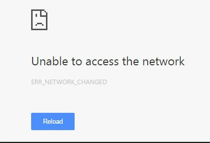 5 Error Network Changed in google Chrome