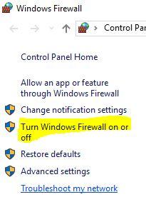 5 Windows Firewall turn on or Turn off