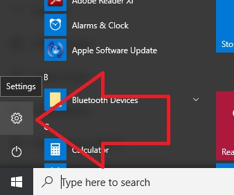 1 Settings on Windows 10 Start menu