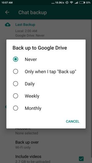6 Auto Backup option in google Drive for WhatsApp