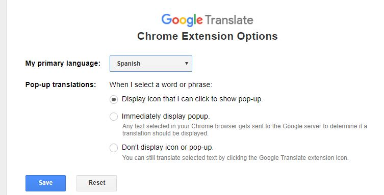 2 Change Google Translation change language option