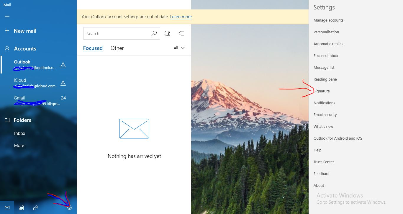 1 Add Signature in Mail app windows 19