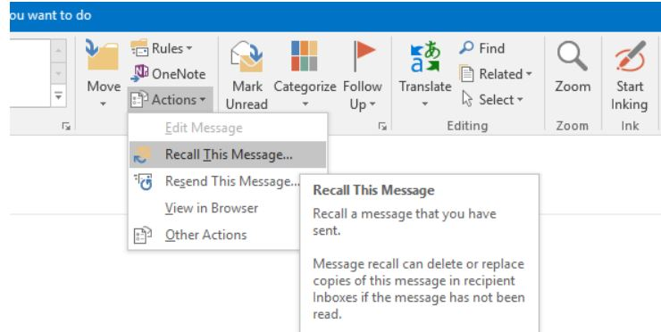 recall mails and outlook