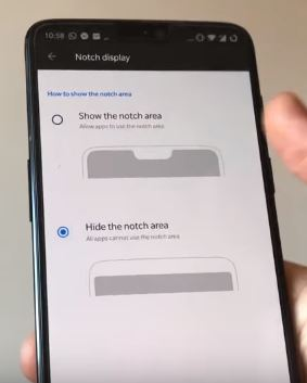 5 hide the Notch area on oneplus 6