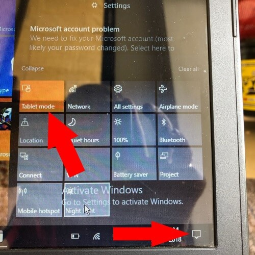 Disable Tablet mode on windows 10