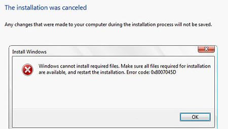 Error 0x8007045d Windows 10 on install, i/O Device error