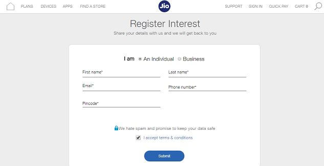 registration form for Jio phone 2