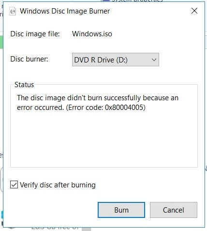 fix dvd burn image file error code 0X80004005