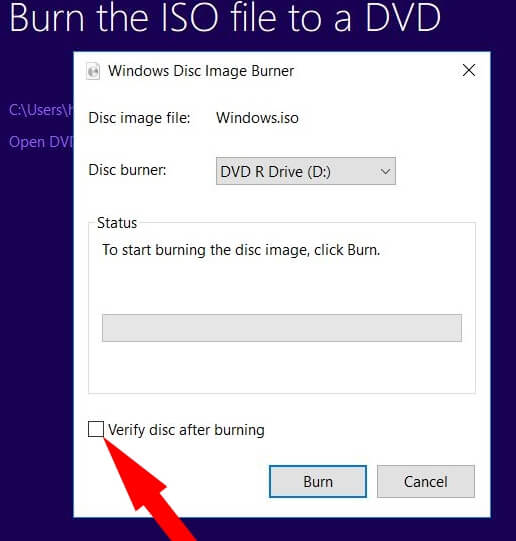 uncheck Verify Disk burning 0X80004005