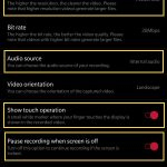 Screen Recording Settings on OnePlus 7 Pro for Audio Source Touch and Resolutions