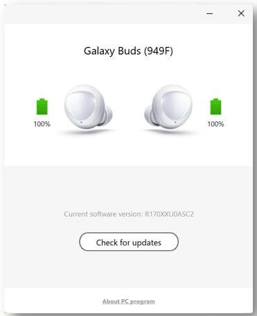 Check For Update for Galaxy Buds on PC