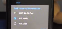 Video Resolution options are