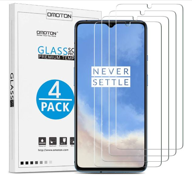 OnePlus 7T Screen Protector - OMOTON Tempered Glass Screen Protector