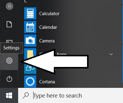 Settings app on Windows from select menu