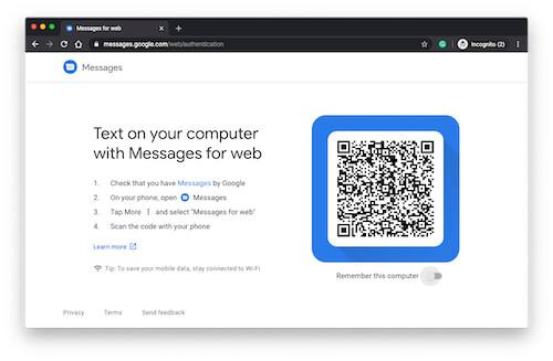 Setup Messages for Web on Desktop PC