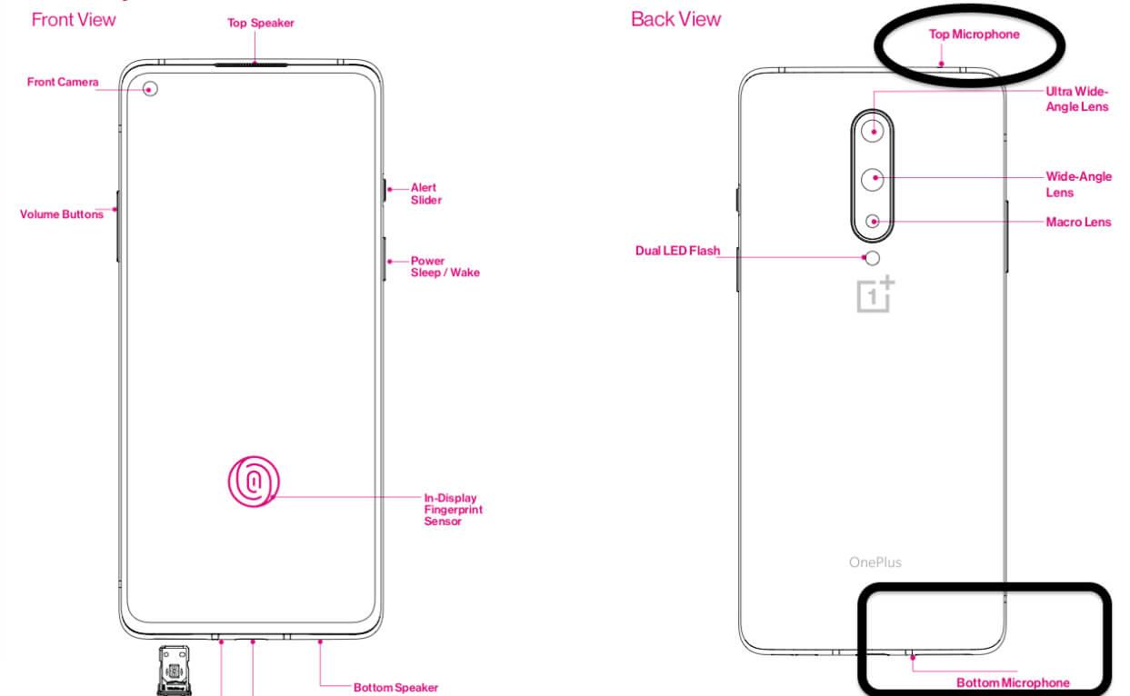 OnePlus 8 Microphone location