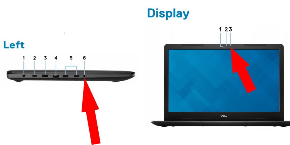 Where is the microphone location on Inspiron